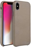 Чехол Uniq для iPhone X/XS Duffle Vale Genuine leather Beige