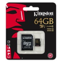 micro SDXC карта памяти Kingston 64GB Class10 UHS-I U1  R/W 90/45 MB/s с адаптером (SDCA10/64GB)