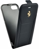 Чехол Ferrari для iPhone 7 488 (Gold) Flip Leather Black