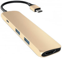 USB-C хаб Satechi Slim Aluminum Adapter 2USB/1USB-C/1HDMI Gold золотой (ST-CMAG)