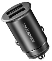 Автомобильная зарядка Rock Space Metal Mini Car Charger 4.8A black