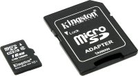 micro SDHC карта памяти Kingston 16GB Class4 с адаптером SD (SDC4/16GB)