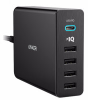 СЗУ Anker PowerPort+5 USB-C with USB Power Delivery 5-Port USB Charger with USB-C Charging Port Black A2053G11