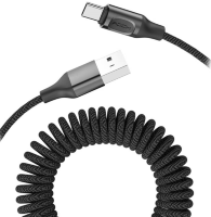 Кабель Rock Type-C Metal Stretchable Charge & Sync Cable Black