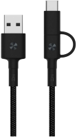 Кабель передачи данных ZMI AL403 Micro/Type-C to USB-A braided cable 1m black