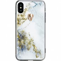 Чехол Bling My Thing Treasure Collection Alabaster для iPhone X золотой череп (ipx-tr-wh-gld)