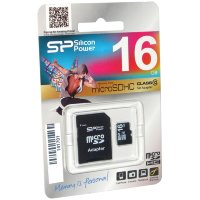 micro SDHC карта памяти Silicon Power 16GB Class10 с адаптером SD